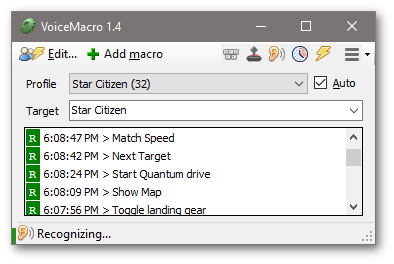 VoiceMacro Main window